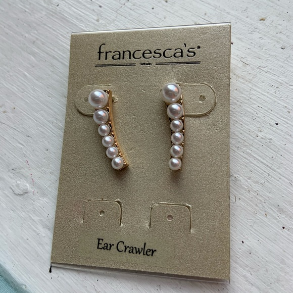 Francesca's Collections Jewelry - Pearl Ear Crawler Earrings